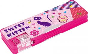 Pencil case plastic on the magnet with a Sweet Kitten sharpener, 2 section